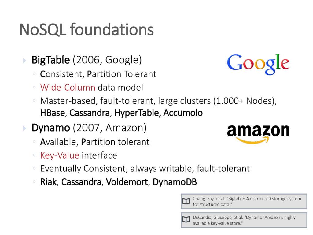  BigTable (2006, Google) ◦ Consistent, Partiti...