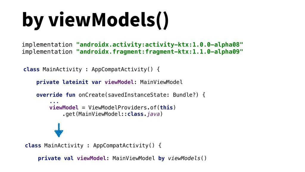 by viewModels() class MainActivity : AppCompatA...