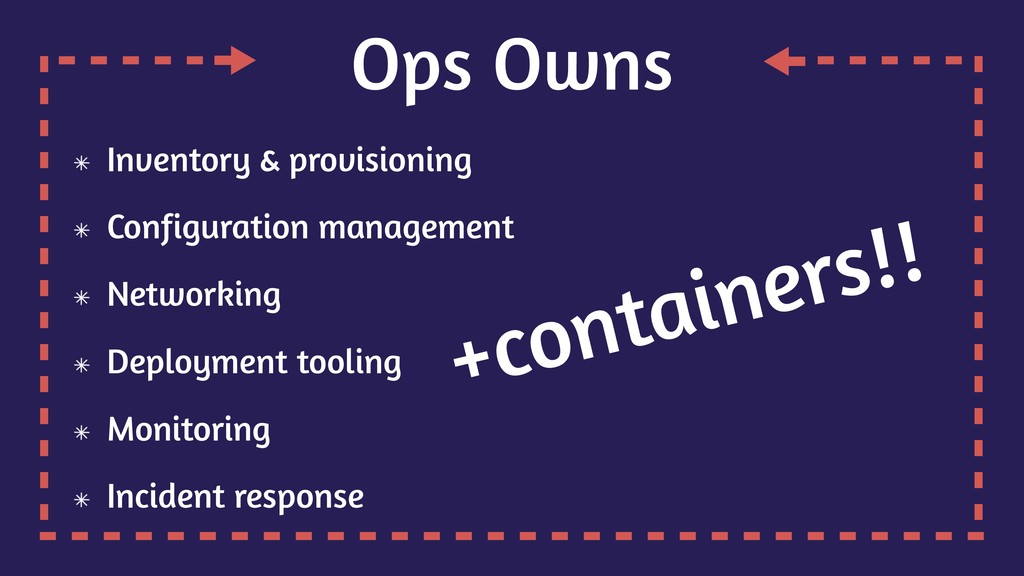 Ops Owns Inventory & provisioning Configuration...