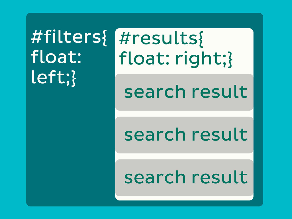 #results{ float: right;} search result search r...