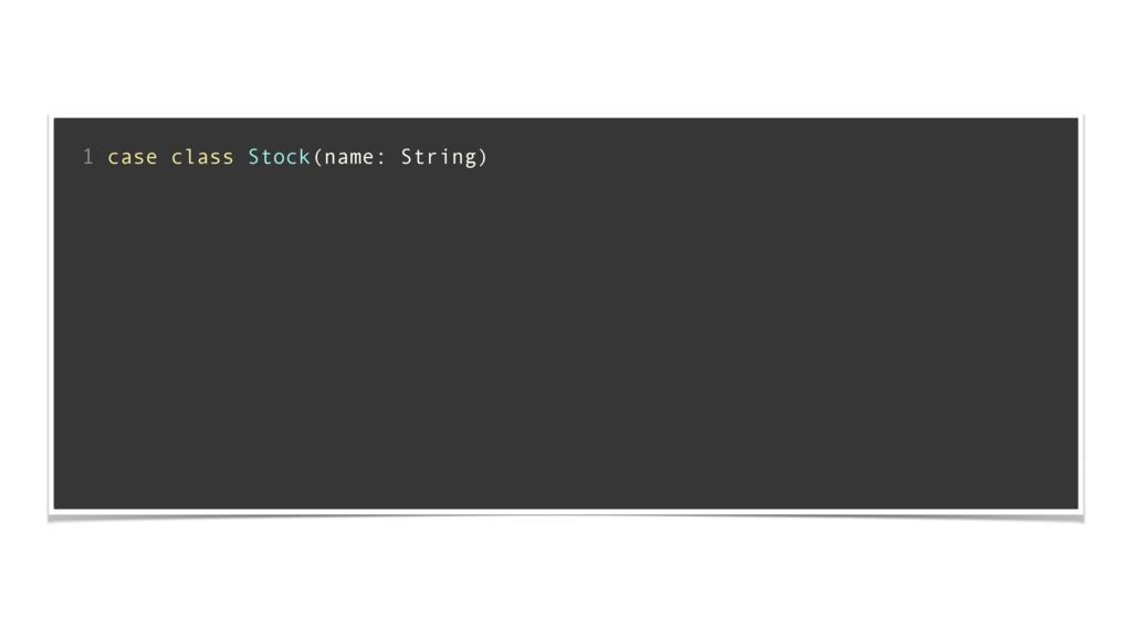 ! 1 case class Stock(name: String) ! ! ! ! ! ! ...