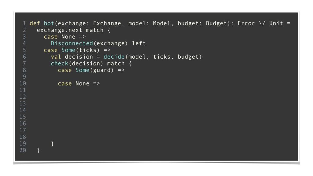 1 def bot(exchange: Exchange, model: Model, bud...