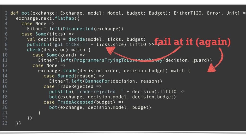 2 def bot(exchange: Exchange, model: Model, bud...