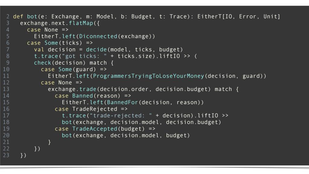 2 def bot(e: Exchange, m: Model, b: Budget, t: ...