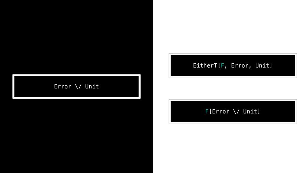 ! Error \/ Unit ! EitherT[F, Error, Unit] ! F[E...