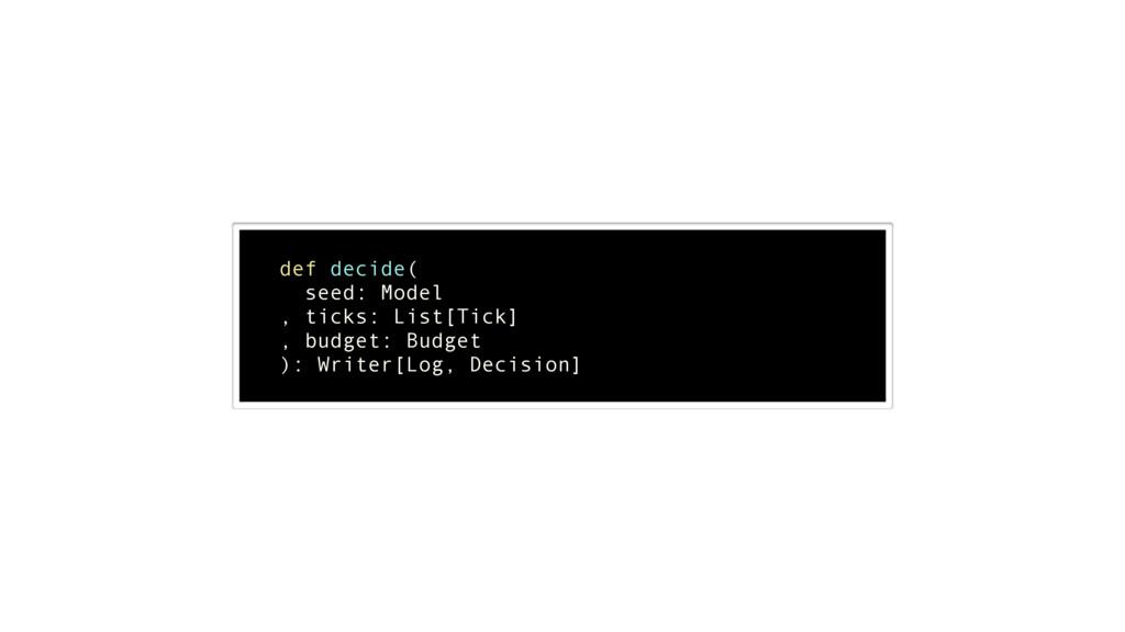 ! def decide( seed: Model , ticks: List[Tick] ,...