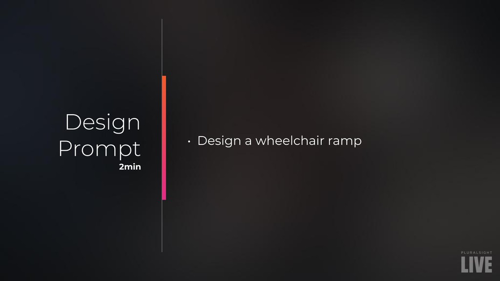 • Design a wheelchair ramp Design Prompt