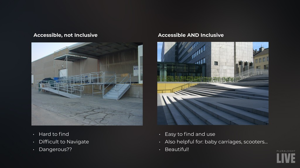 Accessible, not Inclusive Accessible AND Inclus...