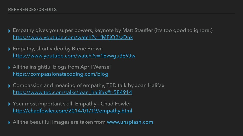 REFERENCES/CREDITS ▸ Empathy gives you super po...