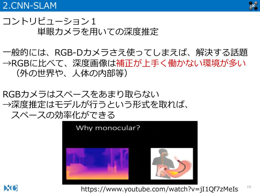 19 2.CNN-‐‑‒SLAM コントリビューション1 単眼カメラを⽤用いての深度度推定 ⼀...