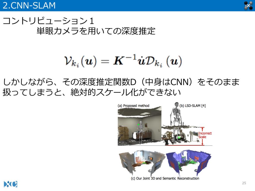 25 2.CNN-‐‑‒SLAM コントリビューション1 単眼カメラを⽤用いての深度度推定 し...