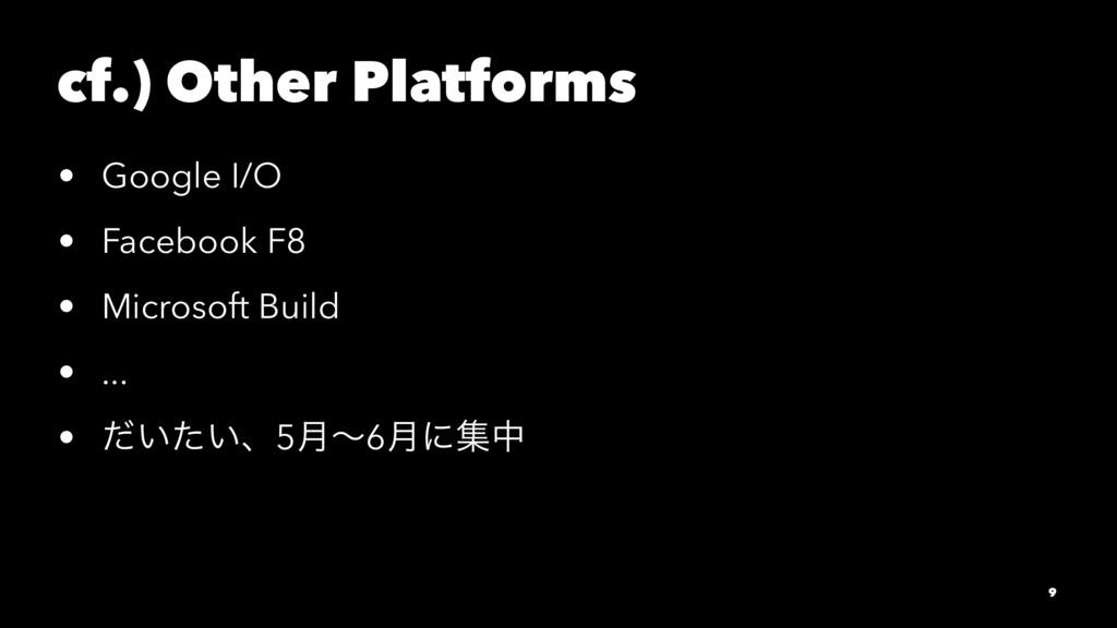 cf.) Other Platforms • Google I/O • Facebook F8...