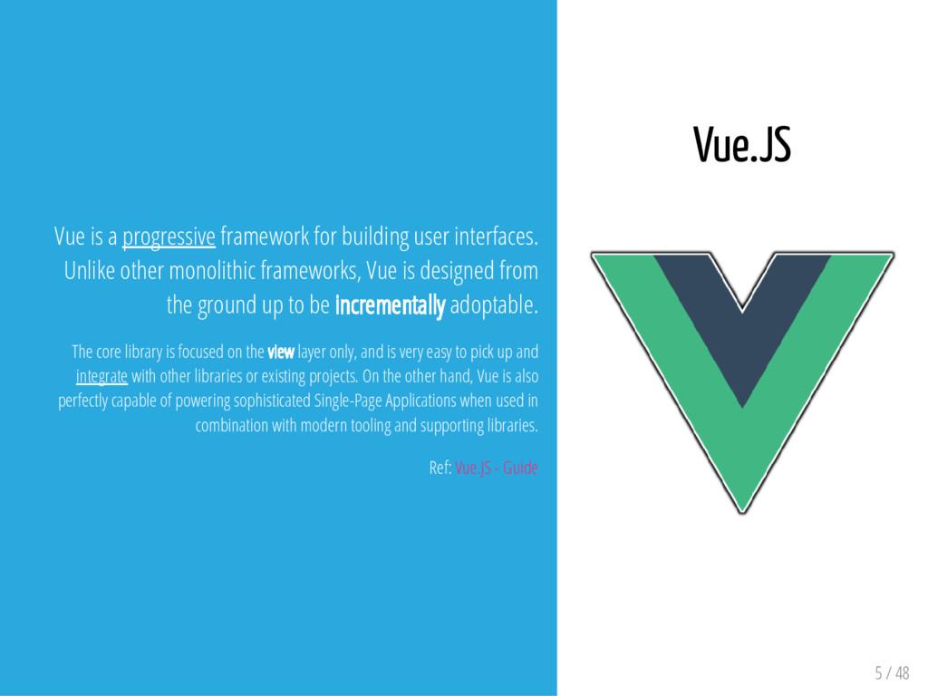 5 / 48 Vue is a progressive framework for build...