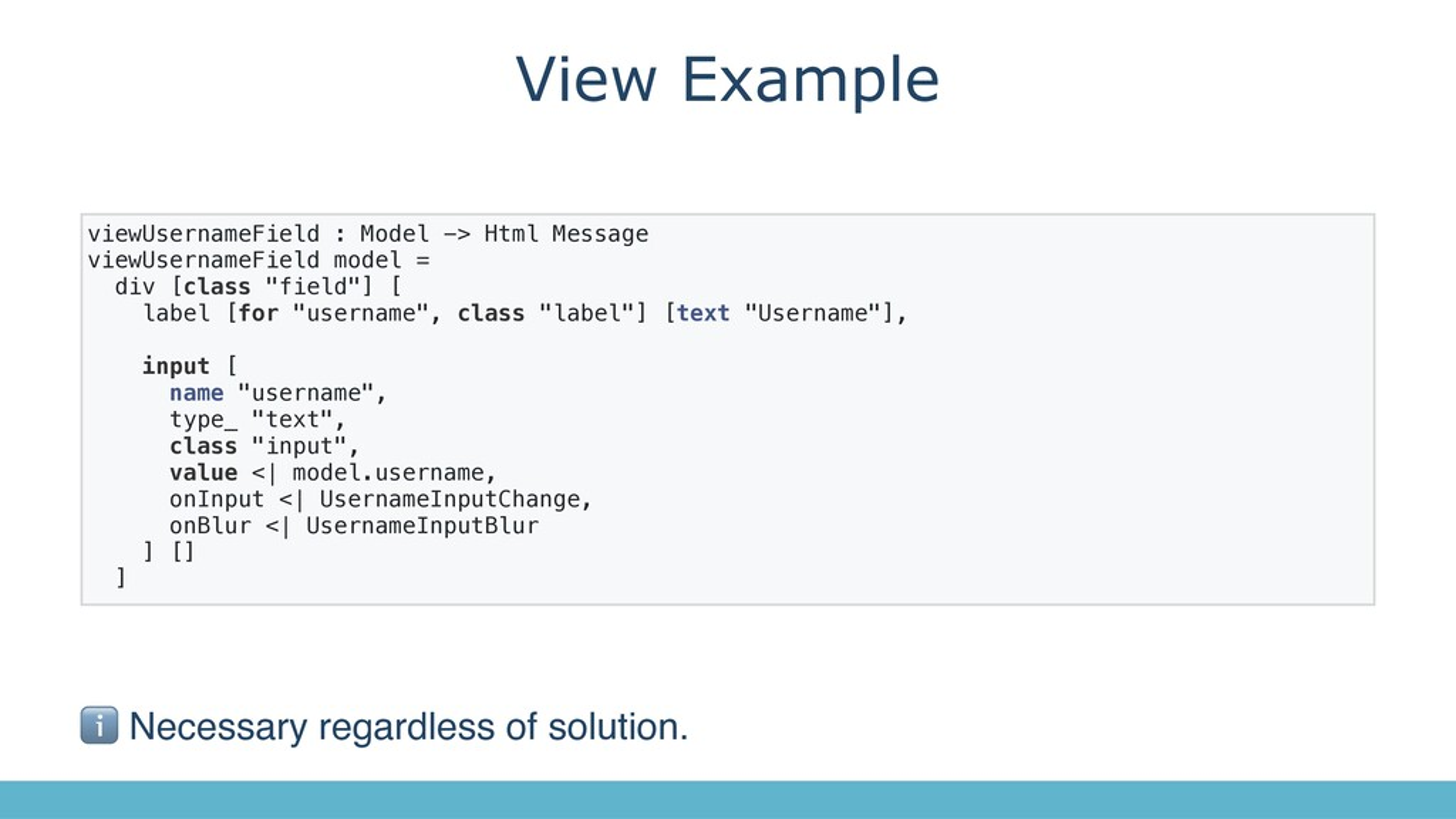 View Example viewUsernameField : Model -> Html ...