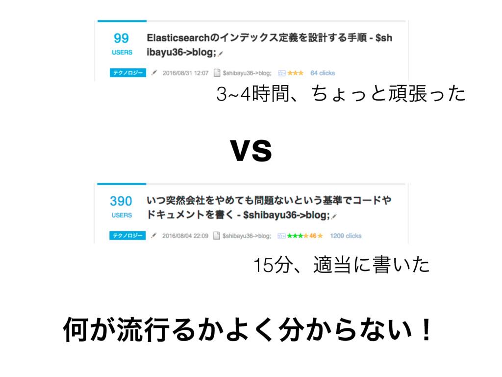 3~4ؒɺͪΐͬͱؤுͬͨ 15ɺదʹॻ͍ͨ vs Կ͕ྲྀߦΔ͔Α͔͘Βͳ͍ʂ