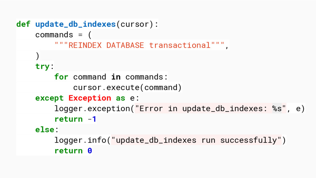 "def update_db_indexes(cursor): commands = ( """"""..."
