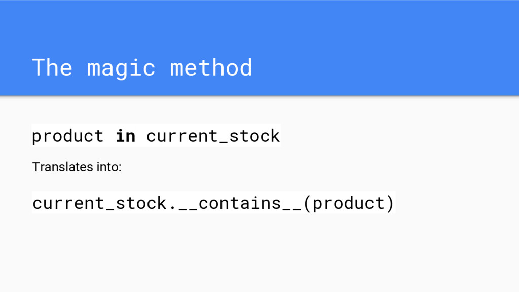 The magic method product in current_stock Trans...
