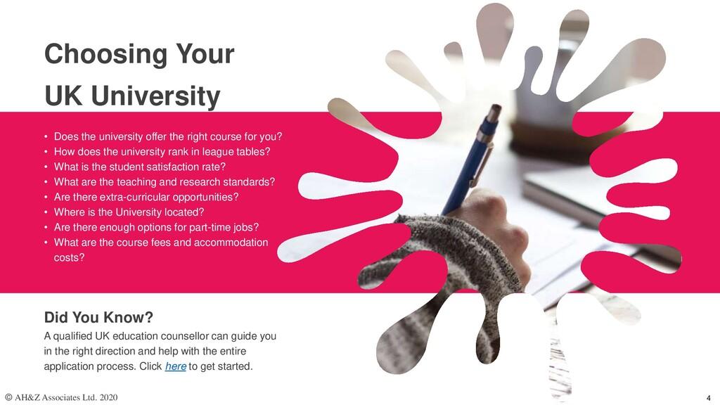Choosing Your UK University • Does the universi...