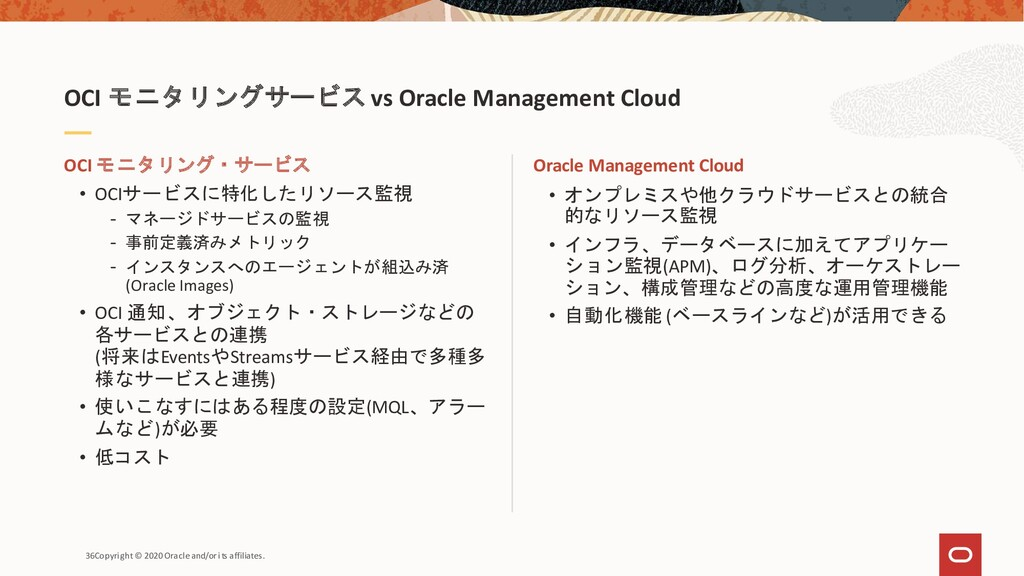 36Copyright © 2020 Oracle and/or its affiliates...