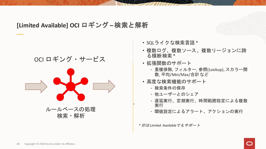 [Limited Available] OCI ロギング – 検索と解析 . OCI ロギング...