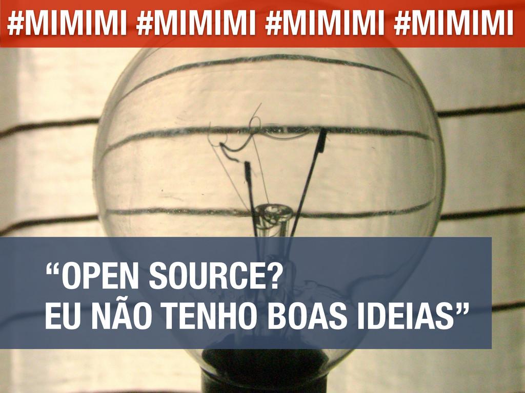 """""""OPEN SOURCE? EU NÃO TENHO BOAS IDEIAS"""" #MIMIMI..."""