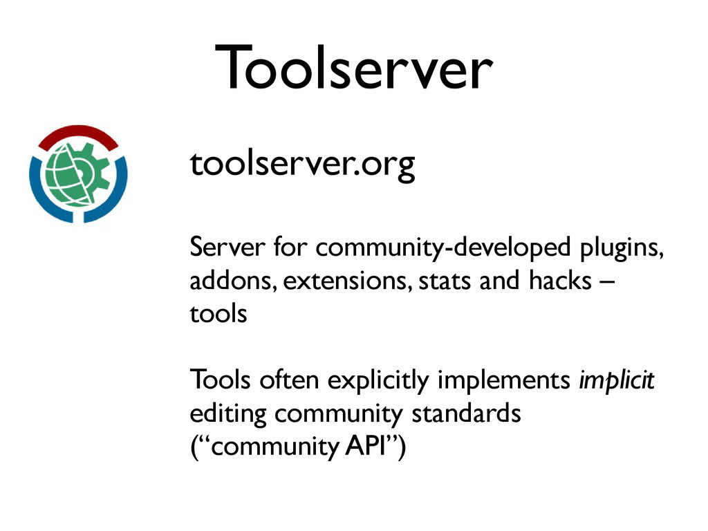 toolserver.org Server for community-developed p...