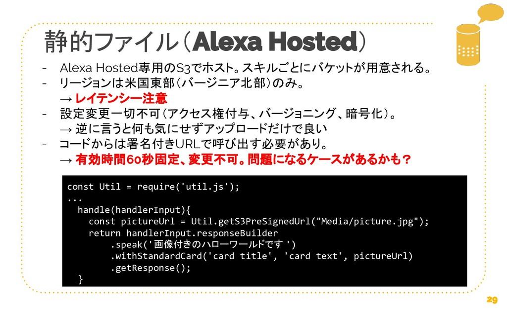 静的ファイル( ) Alexa Hosted専用のS3でホスト。スキルごとにバケットが用意され...