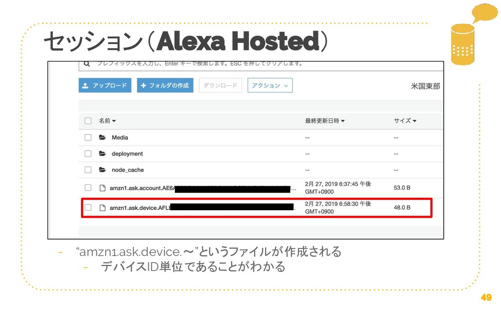 """セッション( ) """"amzn1.ask.device.〜""""というファイルが作成される デバイス..."""