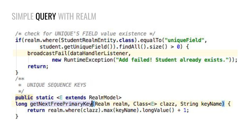 SIMPLE QUERY WITH REALM