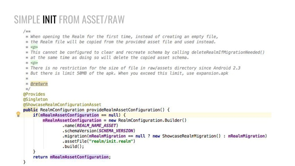 SIMPLE INIT FROM ASSET/RAW