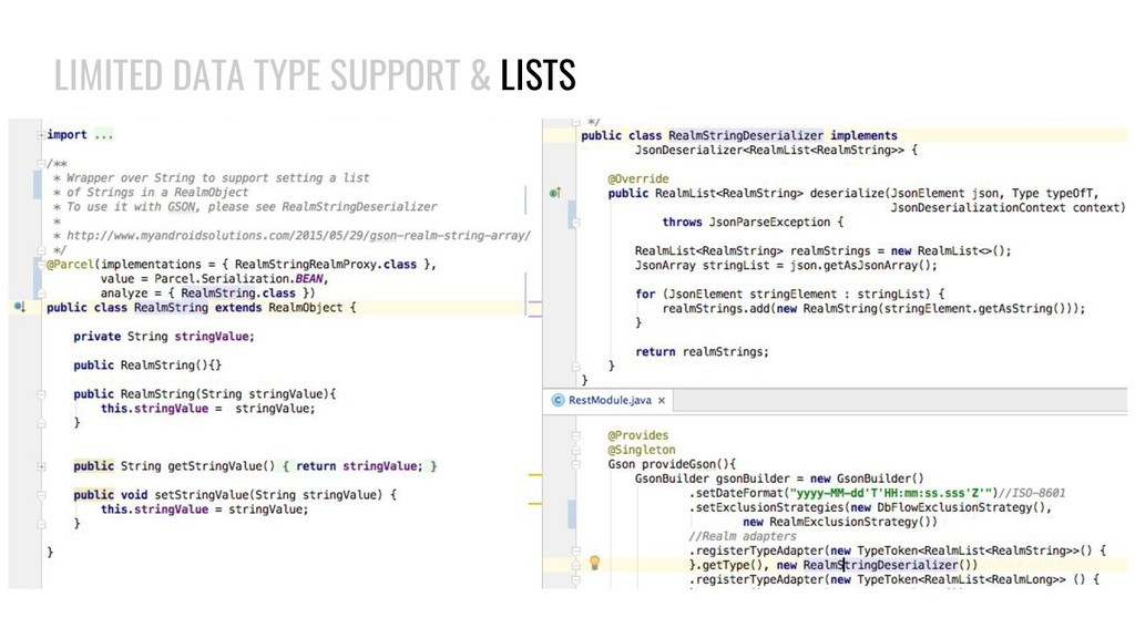 LIMITED DATA TYPE SUPPORT & LISTS