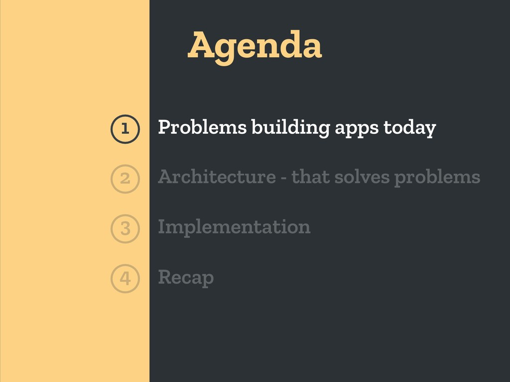 Agenda 1 Problems building apps today Architect...