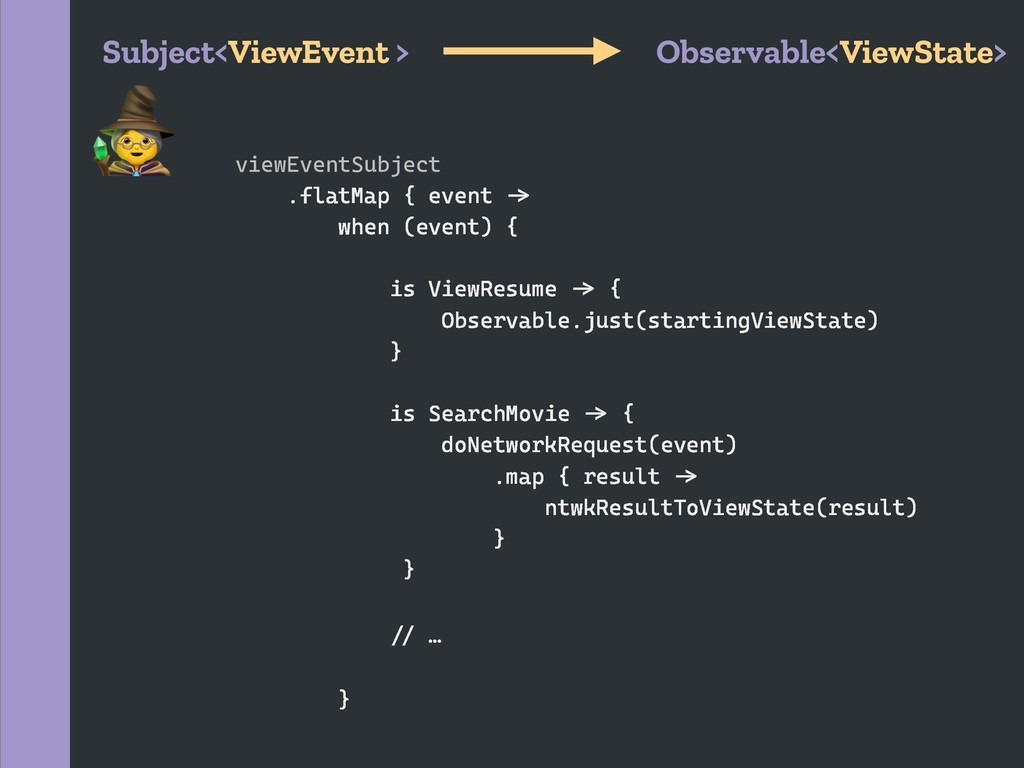 Subject<ViewEvent > Observable<ViewState> viewE...