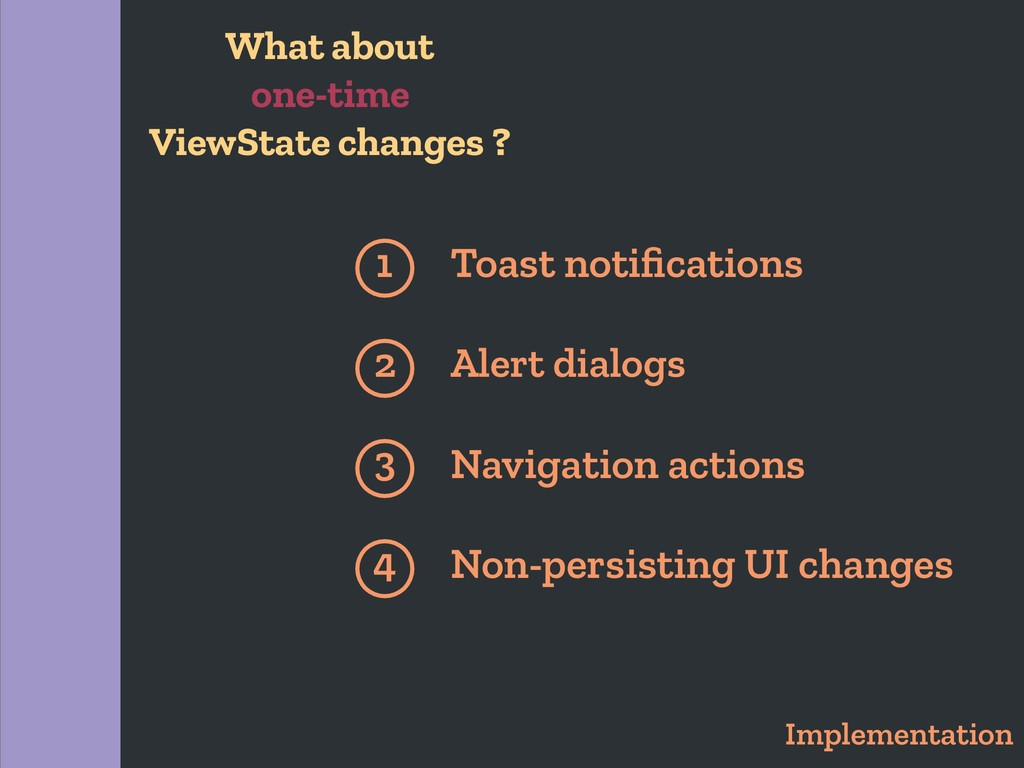 Implementation 1 Toast notifications Alert dialo...