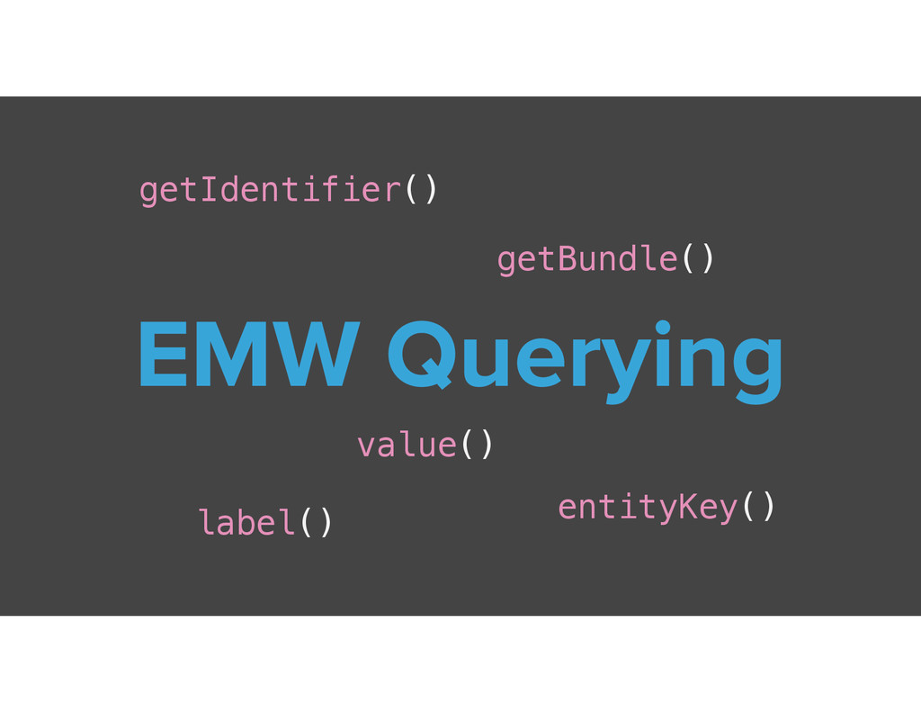 EMW Querying getIdentifier() getBundle() label(...