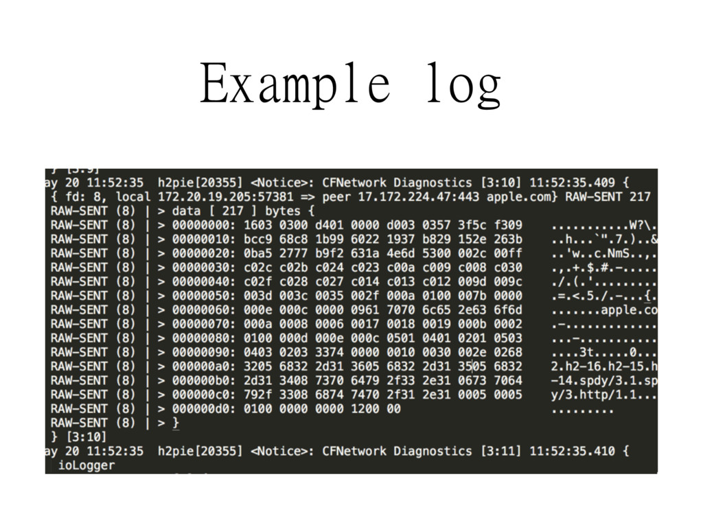 Example log