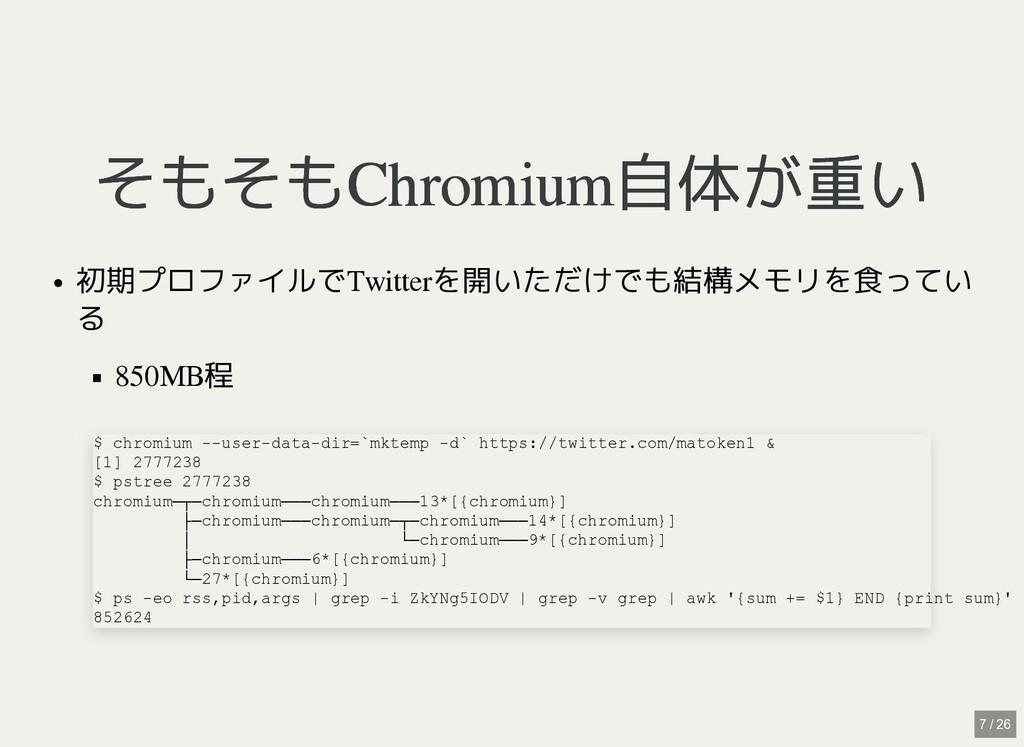 / そもそもChromium自体が重い そもそもChromium自体が重い 初期プロファイルで...