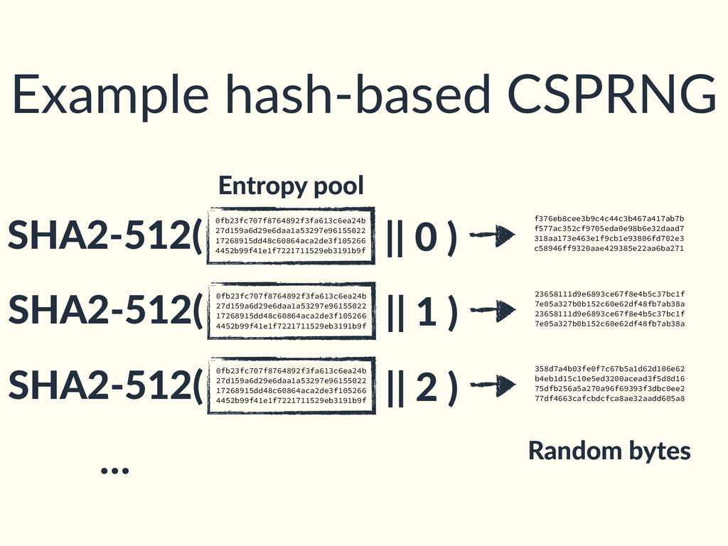 Example hash-based CSPRNG 0fb23fc707f8764892f3f...