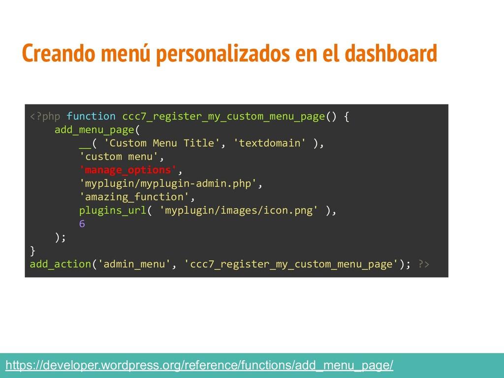 Creando menú personalizados en el dashboard htt...