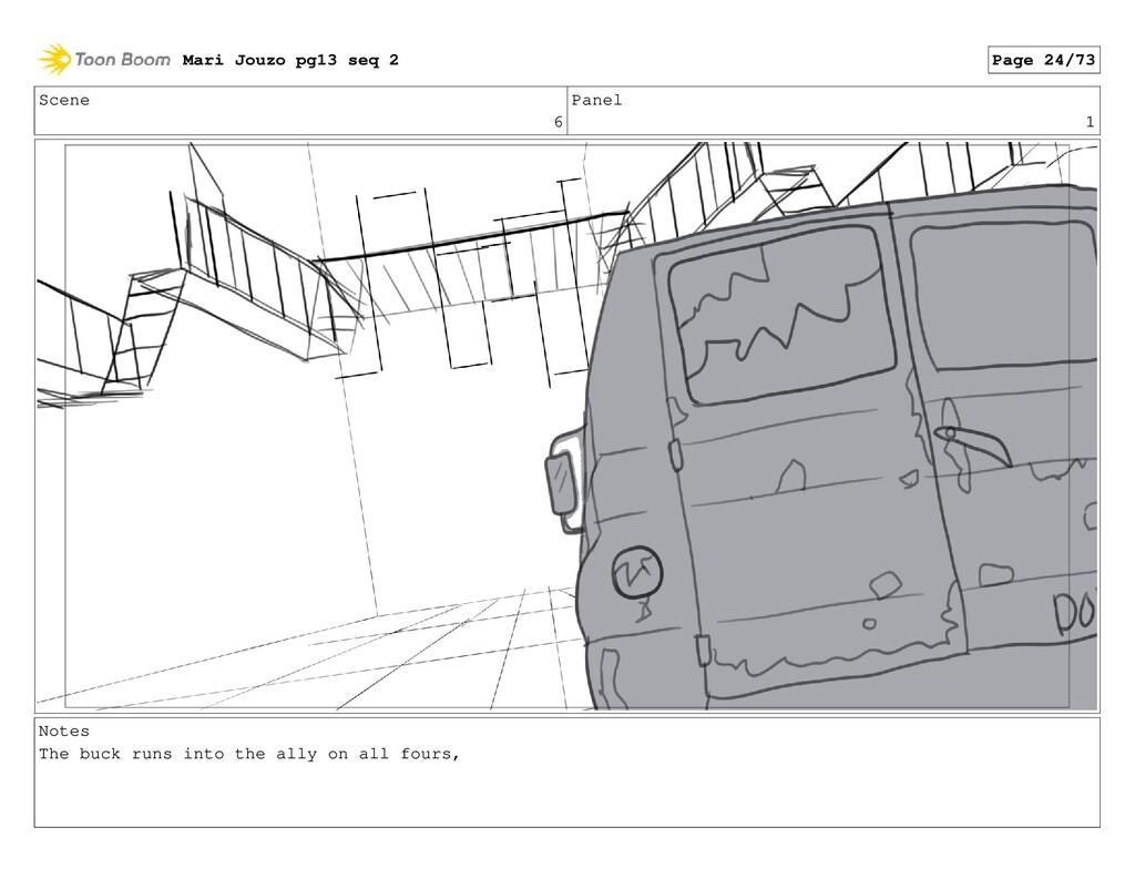 Scene 6 Panel 1 Notes The buck runs into the al...