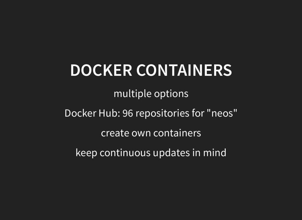 DOCKER CONTAINERS multiple options Docker Hub: ...