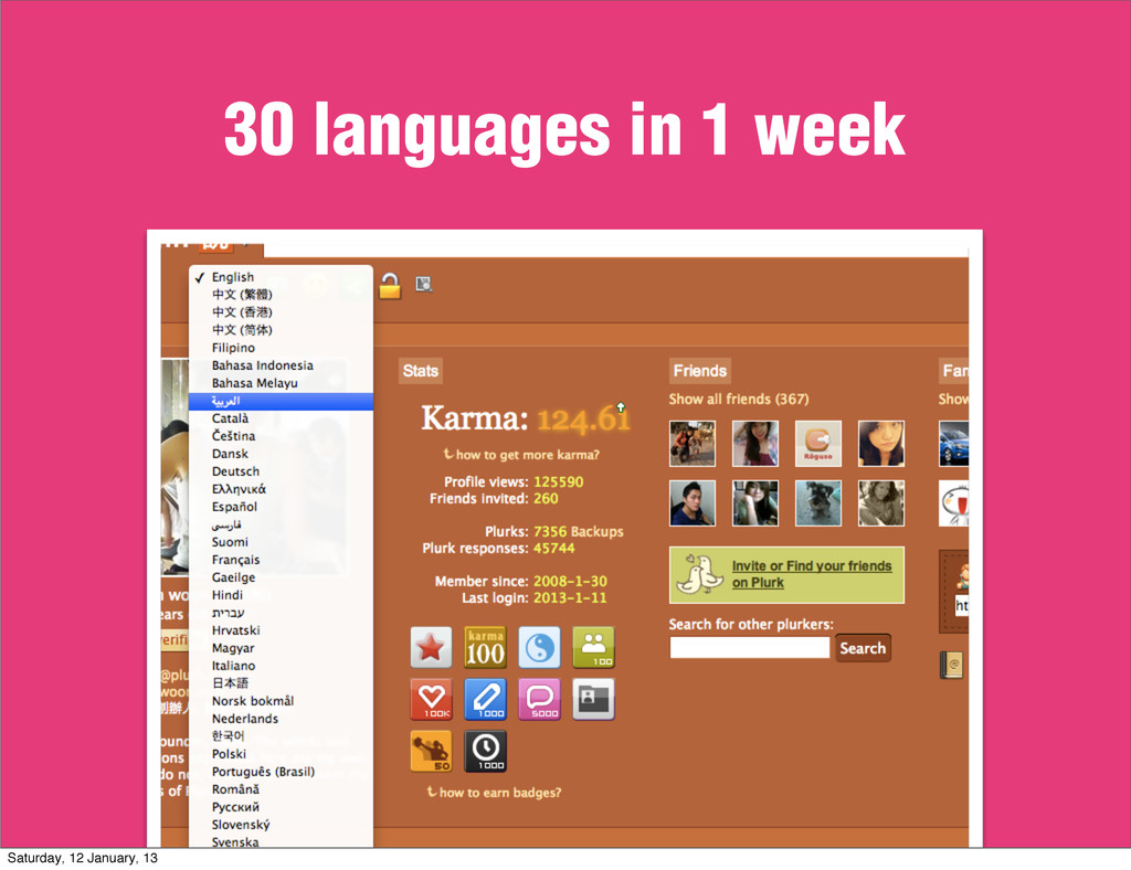 30 languages in 1 week Saturday, 12 January, 13