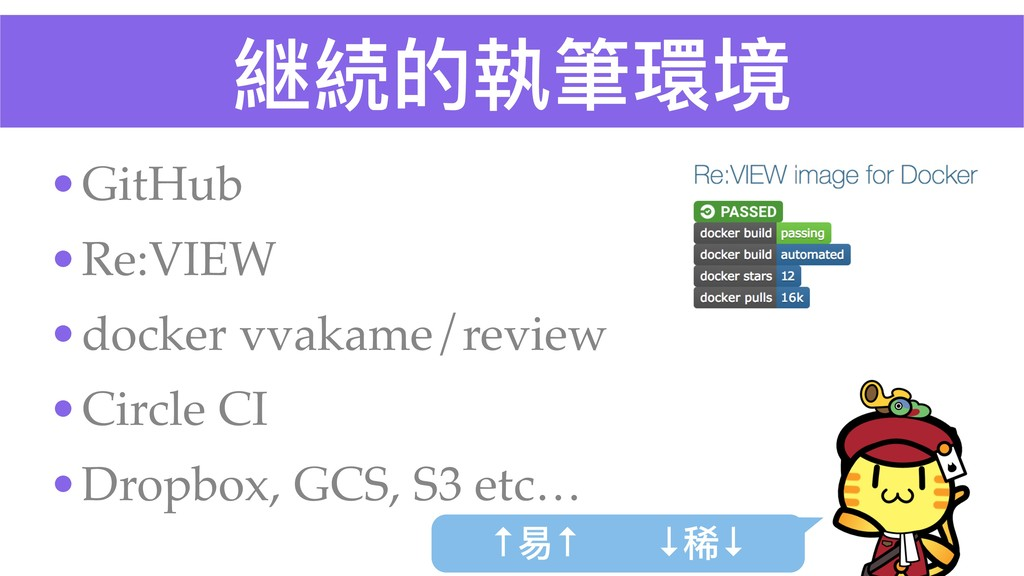 継続的執筆環境 •GitHub •Re:VIEW •docker vvakame/review...