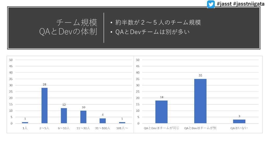 チーム規模 QAとDevの体制 • 約半数が2〜5人のチーム規模 • QAとDevチームは別が...