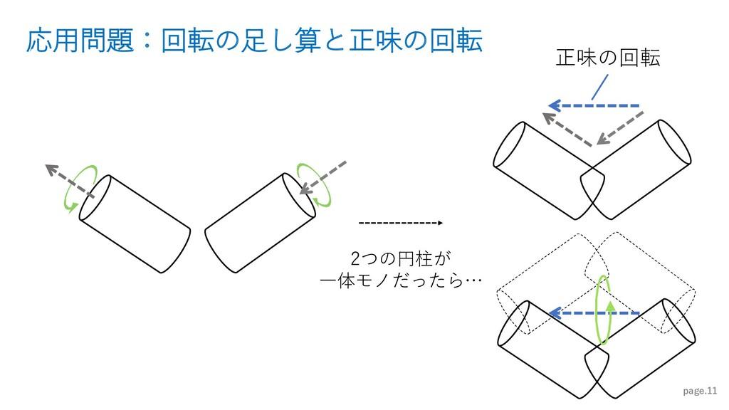 応用問題:回転の足し算と正味の回転 page.11 2つの円柱が 一体モノだったら… 正味の回転
