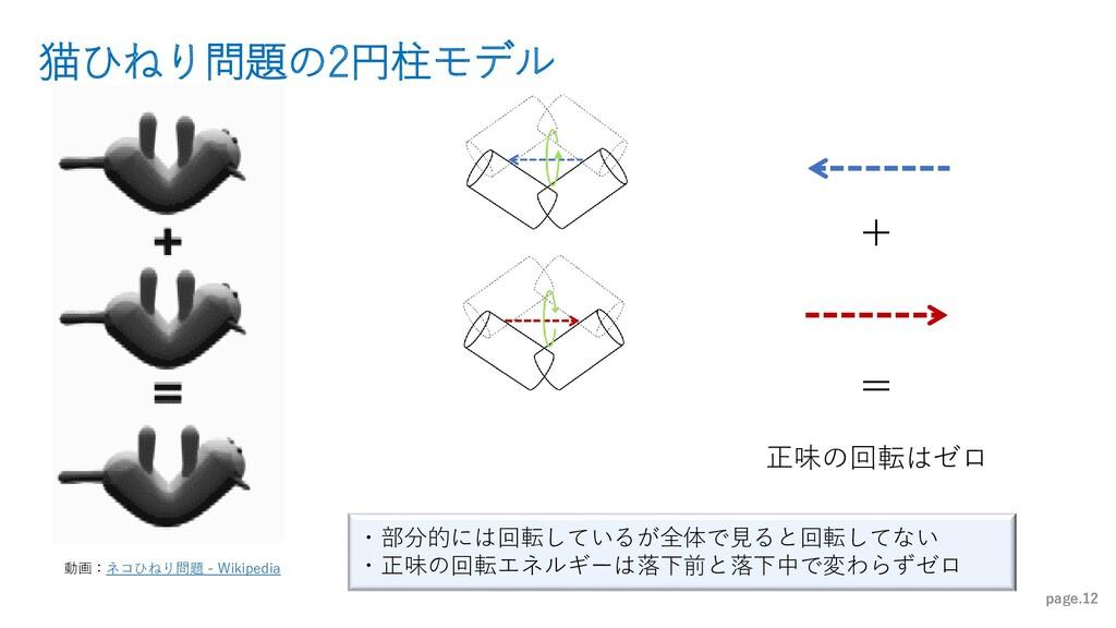 猫ひねり問題の2円柱モデル page.12 ・部分的には回転しているが全体で見ると回転してない...