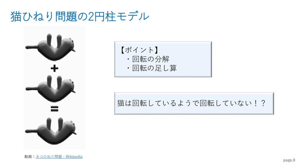 猫ひねり問題の2円柱モデル page.8 【ポイント】 ・回転の分解 ・回転の足し算 猫は回転...