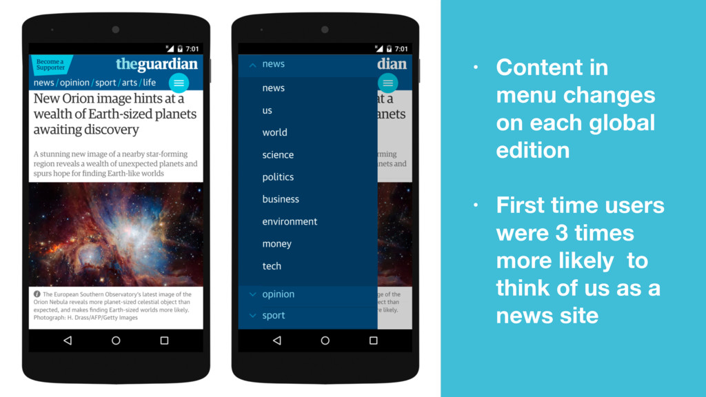 • Content in menu changes on each global editio...