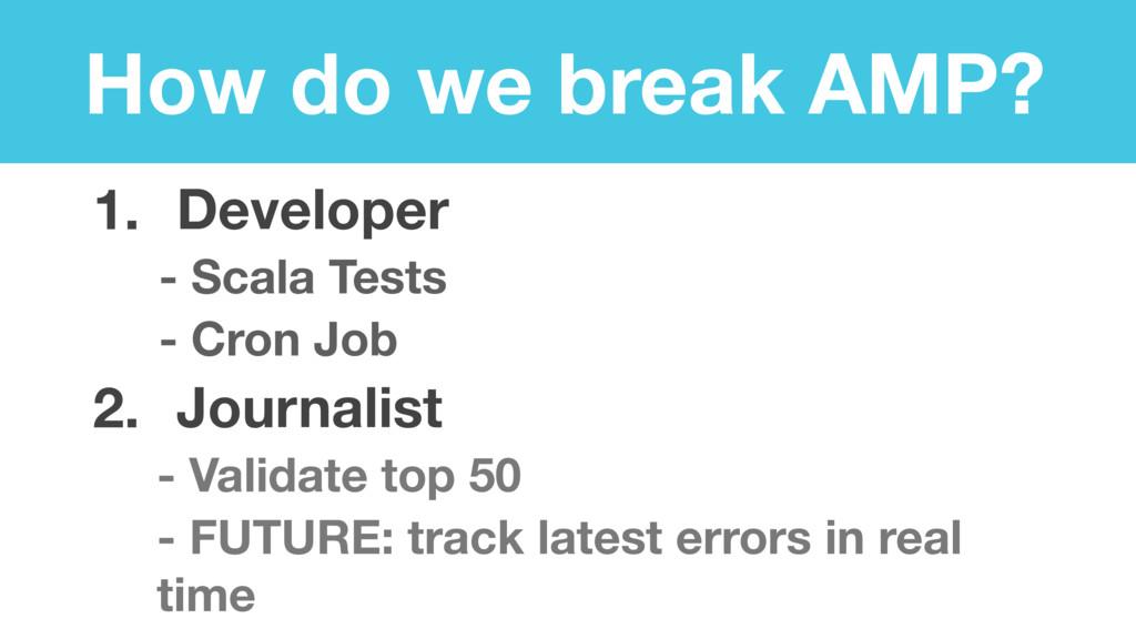 How do we break AMP? 1. Developer - Scala Tests...