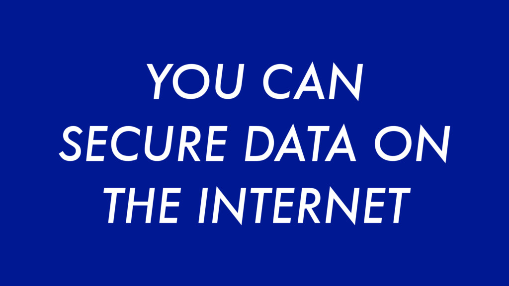 YOU CAN SECURE DATA ON THE INTERNET